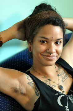 Ebony hairy armpits