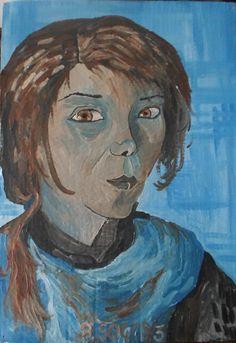 Ritratto: del 2003. mis 36x51. Olio su cartone ondulato