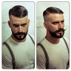 """vintagebarbershop: """" @schorembarbier High 'n' Tight Contour with a hard part and beard trim.  My goal one day Beard And Mustache Styles, Beard No Mustache, Hair And Beard Styles, Hair Styles, Movember Mustache, Handlebar Mustache, Hipster Hairstyles, Cool Hairstyles, Hairstyle Men"""