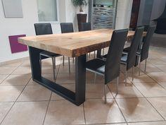 """Résultat de recherche d'images pour """"grande table en bois brut et pieds en acier"""""""