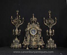 Antique French Empire Clock Garniture Set Candelabras Ormolu