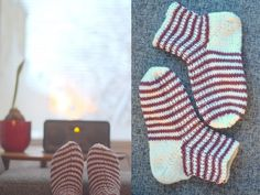 Handmade Vibeke Knitting Socks, Knit Crochet, Slippers, Footwear, Booty, How To Make, Handmade, Knitting Loom Socks, Sneaker