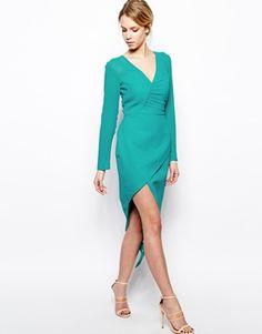 Image 4 ofVLabel London Mayfair Long Sleeve Dress With Wrap Skirt