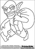 Coloring page with a Goblin from Clash of Clans App. This coloring page show a Clash of Clans Goblin troop, a treasure looter ground unit that deal high damage to resource storages and resource generators. The goblin is quick and has few hitpoints. Print and color this Clash of Clans page that is drawn by Loke Hansen (http://www.LokeHansen.com) based on a Clash of Clans iPhone 5 App screenshot or game promotion.
