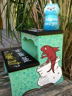 """Dr Seuss wooden step stool """"why fit in when you were born to stand out"""" Facebook: NaptimeDesignsJD NaptimeDesignsJD@gmail.com"""