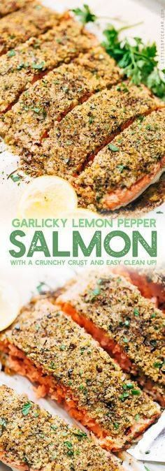 Crunchy Garlic Lemon Crunchy Garlic Lemon Pepper Salmon Recipe -...  Crunchy Garlic Lemon Crunchy Garlic Lemon Pepper Salmon Recipe - an easy weeknight friendly salmon recipe that has a crunchy panko crust on top! Healthy and delicious! #bakedsalmon #lemonpeppersalmon #roastedsalmon #breadedfish | Littlespicejar.com Recipe : ift.tt/1hGiZgA And My Pinteresting Life | Recipes, Desserts, DIY, Healthy snacks, Cooking tips, Clean eating, ,home dec  ift.tt/2v8iUYW