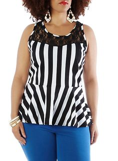 Plus-Size Striped Peplum Top with Lace Shoulders