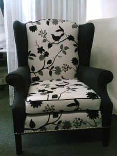 Black And White Newly Reupholstered WingBack Chair On Etsy, $949.72 CAD