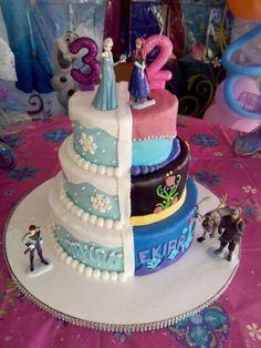 Ana and elsa birthday cake Elsa Birthday Cake, Frozen Themed Birthday Party, Disney Frozen Birthday, 4th Birthday, Twin Birthday Cakes, Disney Frozen Cake, Turtle Birthday, Turtle Party, Carnival Birthday