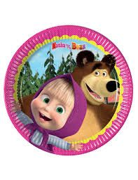 Masha and The Bear Small Party Plates (Pack of paper plates cm;Original product by Masha and the Bear;Ideal for your party Masha and the Bear