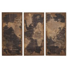three piece map canvas - I love the color on these