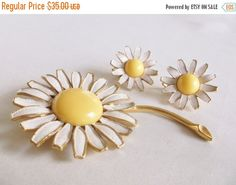 SALE Vintage WEISS White Enamel Yellow Lucite by MemawsTopDrawer