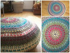 Free crochet pattern - Pouf -- i love the use of scrap yarn interwoven in the dc stitches!