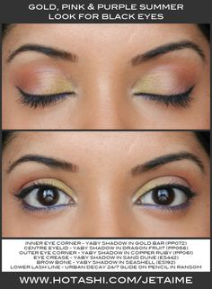 Spring look for black eyes - gold, pink, red and purple #hotashi #brownskin #blackeyes