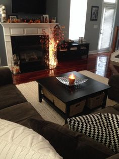 Townhome, grey and white, cozy autumn decor