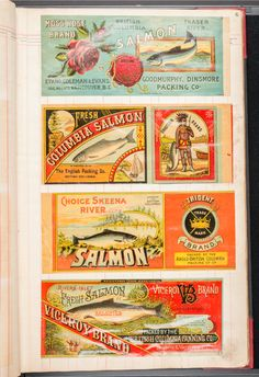 Salmon can labels from sample book. An album of lithographed salmon can labels plus a few clam labels and one whale steak can label. 990.52.4.