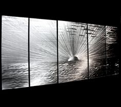 Metal Workings For Sale - Sunset Wall Panel 'Awakening' -Metal Landscape Artwork - Metal Art Decor w/ Ocean & Sunset Design by Nicholas Yust by Modern Crowd at ArtsyHome 3d Wall Art, Metal Wall Art, Metal Art Decor, 3d Painting, Painting Metal, Landscape Artwork, Metal Tree, Tree Art, Amazing Art