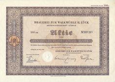 Brauerei zur Walkmühle H. Lück Aktie 100 DM 1950