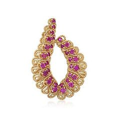 Ross-Simons - C. 1970 Vintage Tiffany Jewelry 4.00 ct. t.w. Ruby Rope-Edged Pin in 18kt Yellow Gold - #812017