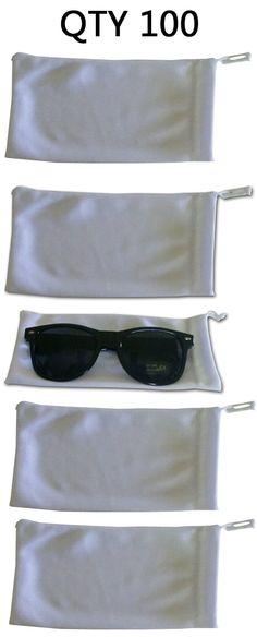 Eyeglass Cases: Qty 100 White Micro Fiber Sunglasses Pouch Case Bag Sleeve Wholesale Bulk Lot -> BUY IT NOW ONLY: $35 on eBay!