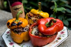 Chorizo and Cheese Grilled Stuffed Bell Peppers