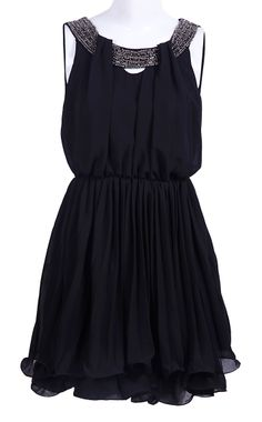 Black Sleeveless Bead Bandeau Chiffon Dress