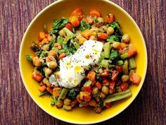 Chickpea Sauté With Greek Yogurt: swiss chard, olive oil, carrots, caraway seeds, garlic, mint, cilantro, lemon juice
