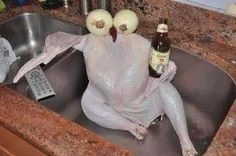 The instructions on this turkey said to let it chill in the sink for a couple of hours. I'm not really an expert on turkey cooking so I'm not going to question it too much.