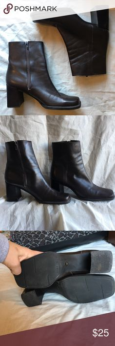 Leather booties Excellent used condition. A few minor scuffs that are barely noticeable. Soft brown leather upper. Side zip closure. Chunky stacked heel for maximum comfort and a square toe. Nine West Shoes Ankle Boots & Booties
