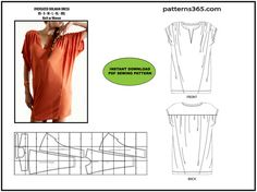 PDF instant download - Sewing pattern - Contemporary Fashion Dolman Dress with Shirring - Original - EXTRA LARGE