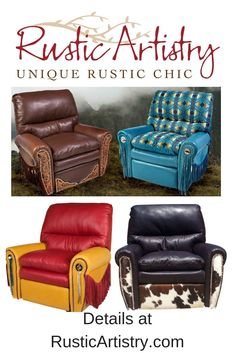 Words aren't enough to express how supremely comfortable this down-filled recliner is. It should come with a warning: lay back in this chair and whatever was on your to-do list will just have to wait. Western Furniture, Cool Furniture, Rustic Style, Rustic Design, Farmhouse Style, Suede Sofa, Rustic Home Interiors, Leather Recliner, Western Decor