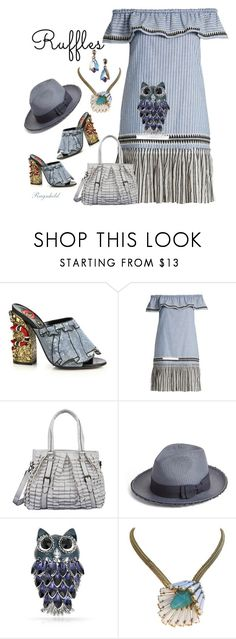"""All Ruffled Up!"" by ragnh-mjos ❤ liked on Polyvore featuring Gucci, Lemlem, Mellow World, Helene Berman, Bling Jewelry, Schreiner, contest, outfit and ruffles"