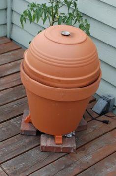 "The Alton Brown Flower Pot Smoker- DIY terracotta ""egg"" smoker Alton Brown, Do It Yourself Baby, Terracotta Flower Pots, Bbq Ribs, Herd, Barbacoa, Outdoor Projects, Outdoor Jobs, Clay Pots"