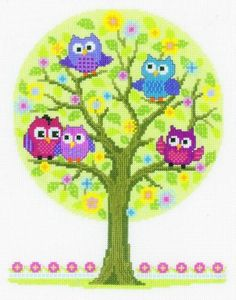 Owl Cross Stitch Kits | image of The Owls Have It Cross Stitch Kit
