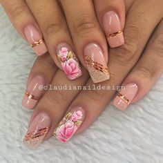 Gel Nail Designs You Should Try Out – Your Beautiful Nails French Nail Designs, Cute Acrylic Nail Designs, Cute Acrylic Nails, Nail Art Designs, Pink Nails, Fancy Nails, Cute Nails, Rose Gold Nails, Nail Polish Art
