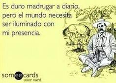 Es duro madrugar a diario,pero el mundo nececita ser iluminado con mi presencia #humor. Mexican Humor, Life Quotes, Life Sayings, Spanish Humor, Classroom Fun, Live Laugh Love, E Cards, Memes, Decir No