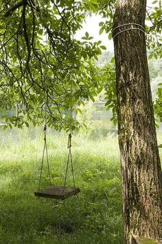 Carefree summer days on a swing in the yard.