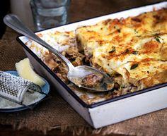 Vegetarian creamy mushroom and thyme lasagne