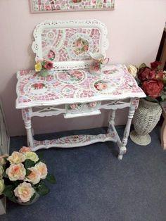 Shabby Beautiful Rose China Mosaic Table by Grindstone Mountain Mosaics $400.00
