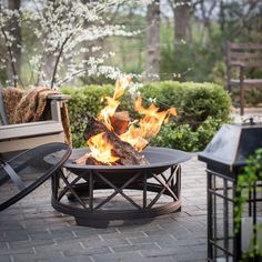Big Fire Pit Bowl w Free Vinyl Cover Fire Tool Wood Grate Outdoor Garden New  #FirePitBowl