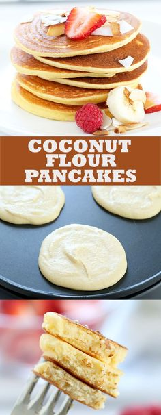 Paleo coconut flour pancakes that are light and fluffy, and made with just a few basic ingredients. A quick and easy, low carb gluten free breakfast! paleo dessert with coconut flour Coconut Flour Pancakes, Coconut Flour Baking, Coconut Oil, Low Carb Recipes, Whole Food Recipes, Cooking Recipes, Healthy Recipes, Diet Recipes, Gluten Free Breakfasts
