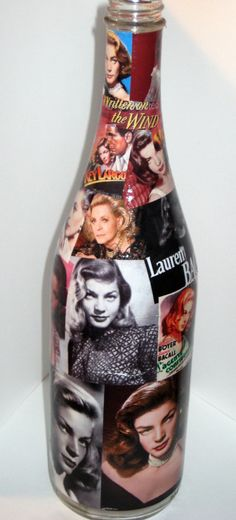 Lauren Bacall Handmade Souvenir Decoupage on by CelebrityBottleCo