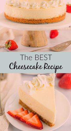 This Classic Cheesecake Recipe is super smooth, creamy, and topped on a homemade graham cracker crus Best Cheesecake, Classic Cheesecake, Easy Cheesecake Recipes, Simple Cheesecake, Cheesecake Desserts, Cake Mix Cookie Recipes, Chocolate Cookie Recipes, Sugar Cookies Recipe, Dessert Party