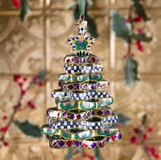 Glass Ornament - Stacking Star Tree - A ready-made heirloom! Each MacKenzie-Childs glass ornament is finely handcrafted, mouth-blown, and hand-painted in Eastern Europe by some of the world's most talented glass artisans. Includes a MacKenzie-Childs brass logo charm and keepsake gift/storage box.