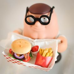 """""""Ding fries are done""""! I made mini polymer clay burgers and gave them to peter griffin =D    nelliobunny art, burger, cute, fast food, food, fries, miniature, peter, peter griffin, polymer clay, polymerclay, family guy"""