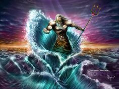 Poseidon (Neptune) Greek God - Art Picture by Artmus__Poseidon was the brother of Zeus the god of gods and Hades god of the underworld and many godess.   — allmyth.blogspot.com