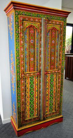 Hand Painted Wardrobe Cupboard Storage Cabinet Closet Indian Multi Color  Boho | EBay