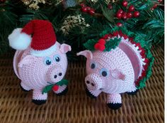 PIGS  Crochet Pattern- Ornament Covers Holiday Pigs - Instant Downloadable PDF File Available
