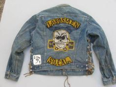 Vintage Outlaw Biker Club Jacket Motorcycle Logo, Motorcycle Clubs, Levis Jacket, Vest Jacket, Biker Back Patches, Bike Gang, Custom Denim Jackets, Vintage Biker, Biker Clubs