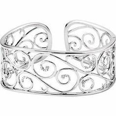 Sterling Silver 7 Inch Diamond Cuff Bracelet RedBoxJewels.com. $700.95